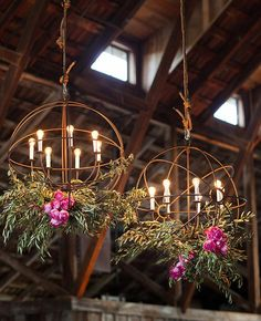 hanging reception flowers | Sabine Scherer | blog.theknot.com