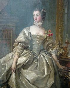 Madame de Pompadour, mistress of Louis XV, wearing Rococo dress decorated with flowers and a small ruff around her neck. - Rococo fashion, robe, gown, Marquise -