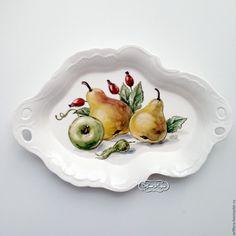 Купить Роспись фарфора Фруктовница Барбарис - роспись фарфора, роспись по фарфору, тарелка, фруктовница