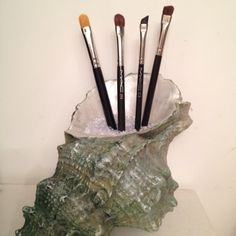 Variation of DIY makeup brush holder. Bathroom is beach themed so I used a seashell decoration I already had, turned it over, added bead type filler from Michaels and brushes.
