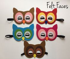One set of 5 Owl party masks, one of each style shown in the photo. Each mask is made with premium felt, and has a black elastic band sewn to each side of the back. These adorable party masks are grea