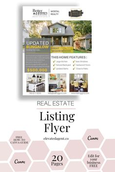 Open House New Listing Flyer-Real Estate Market Update Real Estate Branding, Real Estate Flyers, Real Estate Marketing, Home Buying Checklist, Real Estate Templates, Flyer Free, Better Homes And Gardens, Open House, Marketing Ideas