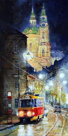 Midnight Tram  Prague  Karmelitska str. by Yuriy Shevchuk.