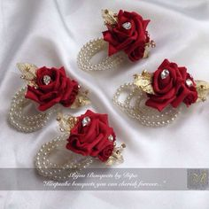 Red and gold corsages for four pretty girls ! Red Corsages, Gold Corsage, Bridesmaid Corsage, Corsage And Boutonniere, Corsage Wedding, Wedding Bouquets, Boutonnieres, Bracelet Corsage, Quince Decorations