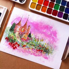 #art #watercolors #dreams #home #sky #drawing #landscape #flowers #summer #white #bird #арт #рисунок #рисование #акварель #дом #мечты #замок #белые #лебеди #творчество #птицы #цветы #небо #вечер #trees #деревья #природа #fantasy #фантазия