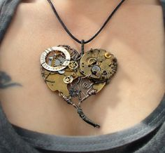 Heart Steampunk Pendant by MelsMakeBelieve on Etsy, $36.00
