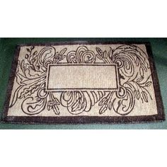 """Coco Marseilles Doormat Size: 2' x 3'3"""" by Geo Crafts, Inc. $69.00. GR-MAR39 Size: 2' x 3'3"""" Features: -Technique: Woven.-Material: Natural coir fibers.-Origin: India.-Scrub clean dirt slush and mud and hides within the fibers.-Absorbs moisture, resists mildew.-Fully bio-degradable and earth friendly. Construction: -Construction: Handmade. Dimensions: -Pile height: 1.5''. Collection: -Collection: Door Mats."""