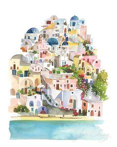 Santorini Watercolor Art Print by YaoChengDesign on Etsy