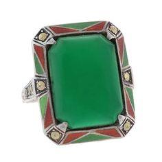 Art Deco Sterling Enameled Marcasite & Chrysoprase Ring