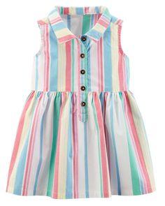 Striped Poplin Shirt Dress
