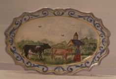 Oval Platter Cows w/ Farm Girl by Dominique Levy