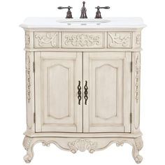 Home Decorators Collection Winslow 33 in. W x 22 in. D Vanity in Antique White with Marble Vanity Top in White with White Sink Winslow - The Home Depot Baños Shabby Chic, Tuscan Decorating, Decorating Games, Interior Decorating, Interior Design, Bath Vanities, Sinks, Faucets, Marble Vanity Tops