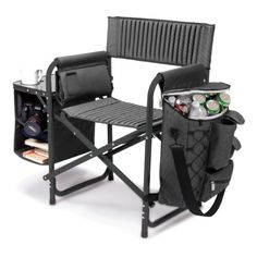 Picnic Time Fusion Folding Chair, Gray With Black Frame, 2015 Amazon Top Rated Outdoor Furniture #Lawn&Patio
