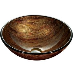 The VIGO Amber Sunset glass vessel bowl features a variety of brown, red, and amber colors throughout, providing a distinguished elegance. The glass sink is handmade with possible slight color variations, so no two are identical.