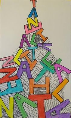 Name projects.s art room: name projects name art projec Piet Mondrian, Name Art Projects, Third Grade Art, Ecole Art, Deco Design, Design Design, Middle School Art, Art Lessons Elementary, Art Lesson Plans