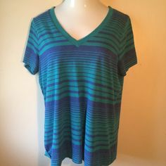 Green & blue striped shirt Mossimo green and blue striped shirt. Size is 2 (plus size). Sorry, not interested in trades. Mossimo Supply Co Tops