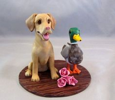 Custom Made Clay Dog Wedding Cake Topper Sculpture Labrador Retriever Mallard Duck Tulips Bride Groom Cat Pet Animal