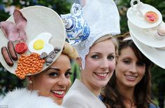 And if they get peckish... These ladies sought inspiration from the kitchen for their Ascot headgear