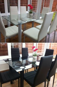 STUNNING GLASS DINING TABLE SET AND WITH 6 FAUX LEATHER CHAIRS WHITE BLACK NEW now £199.99 on ebay http://www.bestoffersforuk.com/furniture.php