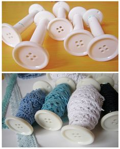 I think these are empty thread spools with a button glued onto the end? by stefanie Sewing Room Storage, Sewing Room Decor, Sewing Room Organization, My Sewing Room, Craft Room Storage, Sewing Rooms, Spool Crafts, Sewing Crafts, Sewing Projects