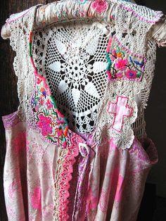 Floaty Silk & Lace Jacket, Vest, Pink, Mauve, Cream, Vintage Embroidery, Cross, Buckle, Bohemian