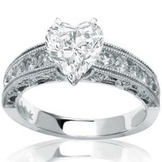 1.32 Carat Heart Cut / Shape 14K White Gold Antique / Vintage Style Channel Set Round Diamond Engagement Ring ( G-H Color , SI2 Clarity ) - http://finejewelrygalleria.com/jewelry/wedding-anniversary/engagement-rings/132-carat-heart-cut-shape-14k-white-gold-antique-vintage-style-channel-set-round-diamond-engagement-ring-gh-color-si2-clarity-com/