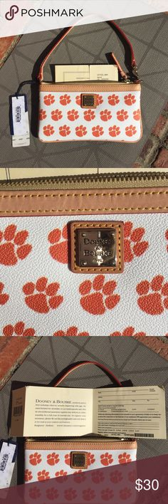 NWT Clemson Dooney & Bourke Wristlet 2016 National Champions! This Clemson Tiger themed white and creamy tan leather wristlet is a great way to show your school spirit! It has its original tags and has never been used. It has a registration card- you can start a relationship with the company and keep this as an heirloom piece to pass down to daughters and granddaughters. It easily holds an iPhone 5/6/7 and a few other necessities. Please enjoy and Go Tigers! I have a second one just like…