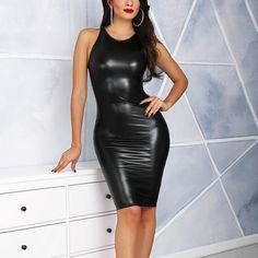 3e208286624 Women Sexy PU Leather Bodycon Midi Dress Casual Clubwear Party Dresses  Leather Sleeveless Slim Summer Dress