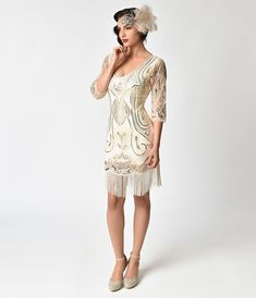 1ae14dcc8d7 Flapper Dresses  amp  Quality Flapper Costumes Unique Vintage Ivory Gold  Sequin Margaux Sleeved Fringe Flapper