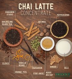 use to make chai tea extract for cocktails. (lots of chai tea bags + vodka) Homemade Chai Tea, Organic Homemade, Homemade Chai Recipe, Homemade Cafe, Homemade Breads, Yummy Drinks, Healthy Drinks, Healthy Recipes, Hot Tea Recipes