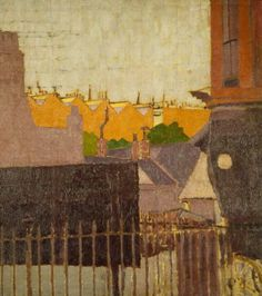 "peinture : ""back of houses, Chelsea"", Malcolm Drummond, 1914 Mary Poppins, Urban Landscape, Landscape Art, Southampton City, Aberdeen Art Gallery, Impressionist Artists, Building Art, Post Impressionism, Weird Pictures"