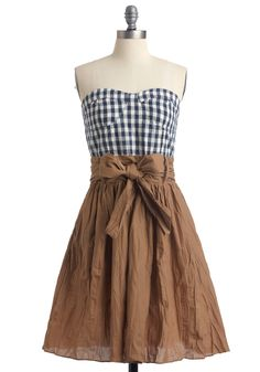 Party in the Pasture Dress - Mid-length, Black, White, Checkered / Gingham, Strapless, Casual, Vintage Inspired, Multi, Brown, Twofer, Spring