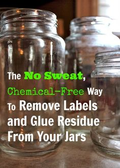 The easy way to get your jars sparkling clean and ready to re-use without using any harsh chemicals! Oil and baking soda! Soak in water to remove paper. Mix equal parts oil and baking soda. Rub on jar and let sit awhile then rub off Do It Yourself Upcycling, Do It Yourself Food, Bottles And Jars, Glass Jars, Mason Jars, Milk Bottles, Apothecary Jars, How To Remove Glue, Remove Labels
