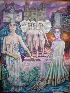 CompArte cada día: C.Lídia Álvarez - CanariasArte  // Alegoría de Gran Canaria //  óleo sobre lienzo //  60 x 80 cm