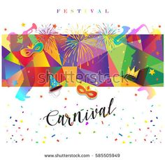 Carnival festive poster vector illustration. Bright confetti, fireworks, masquerade symbols on abstract colorful background..