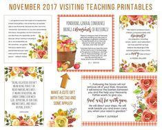 $2.00, November 2017 Visiting Teaching Message Printable Instant