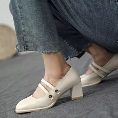 Women Pumps Mid Heels Plus Size Slip On PU Leather Party Wedding - Trendy design of the summer block heels lets you wear the shoes all day long with no pain, provide you relaxing feelings and show your feminie elegance and confidence. #chunkyheels #sandalsoutfit #heelsclassy #heelswithjeans #heelsprom #icuteshoes #blockheelsoutfit #blockheelsoutfitjeans #blockheelsoutfitjeansstreetfashion #heelsclassyelegant #heelsclassyelegantoutfit #heelsoutfits #heelsoutfitscasual #heelswithjeansoutfit Block Heels Outfit, Casual Heels Outfit, Heels Outfits, Work Heels, Leather Pumps, Pu Leather, Mary Jane Heels, Women's Pumps, Chunky Heels