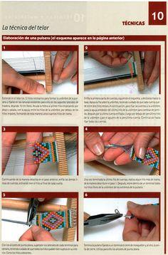 off loom beading techniques Bead Loom Bracelets, Beaded Bracelet Patterns, Woven Bracelets, Peyote Patterns, Loom Patterns, Beading Patterns, Beading Techniques, Beading Tutorials, Loom Knitting Projects
