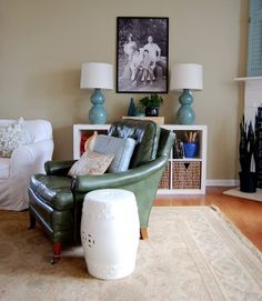 green leather chair!