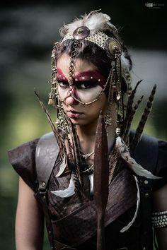 All things fantasy larp related Headdress, Headpiece, Cosplay, Tribal Warrior, Woman Warrior, Steampunk, Post Apocalyptic Fashion, Post Apocalypse, Hippie Man