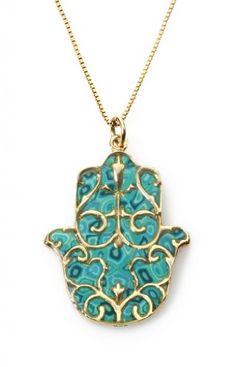 Gold Hamsa Necklace with Fleur de Lis Pendant - Turquoise Jewish Jewelry - Handmade Polymer Clay Israeli Gift Ideas - Hand of Fatima Adina Plastelina Handmade Jewelry,http://www.amazon.com/dp/B00A5RPUBM/ref=cm_sw_r_pi_dp_O0w0sb1X9TSZ98WW