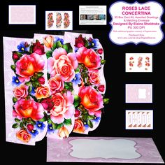 Rose Flowers Butterfly Lace 3 Fold Concertina Kit, Assorted Greetings, Decoupage & Matching Envelope _ PU - 300 DPI by DigitalHeaven on Etsy