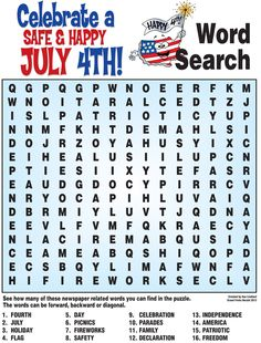 4th of July word search, history quiz and more!