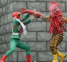 """仮面ライダーV3対 Isoginjaguar (イソギンジャガー) a revived Gel-Shocker kaijin in """"Kamen Rider × Super Sentai: Super Hero Taisen"""" movie released on 21 April 2012."""