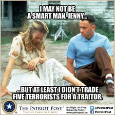 The elemnet being used is humor. The photo is saying that Forrest Gump is smarter than President Obama because he gave 5 terrorist back for a traitor.