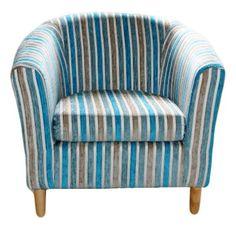 April Striped Fabric Tub Chair - Teal
