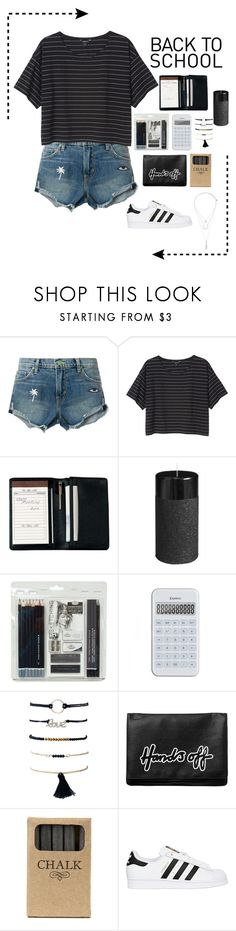 """Back to school 🖤"" by ananyasharmad85 ❤ liked on Polyvore featuring Sandrine Rose, Monki, Royce Leather, Pier 1 Imports, Royal & Langnickel, Jayson Home, adidas Originals and claire's"