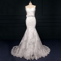 Find a Real Photos Romantic Ivory Lace Wedding Dress With Sequined Sash Flower Mermaid Wedding Dress Strapless Bridal Dresses Gown !!