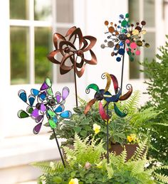 Mini Wind Spinners, Set of 2 | Decorative Garden Accents - Mini versions of our full-sized spinners add color and whimsy to flower pots, planters, beds and more.