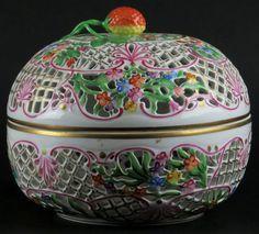 Herend Porcelain Open Weave Pierced Covered BonBon